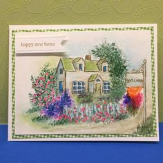 Art Impressions Rubber Stamps: Ai Wonderful Watercolor ... handmade card with flowers, foliage, grass, cottage, house, fence