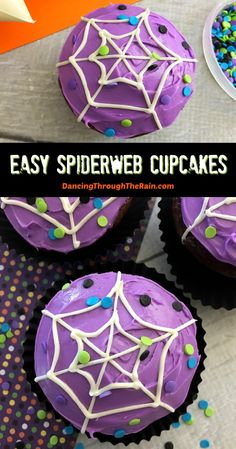 These easy Spiderweb Cupcakes are a perfect Halloween dessert! A cake mix Halloween treat that you can decorate and serve at a Halloween party or even just during October! Perfect for a Halloween bake sale or a baking activity with the kids as well! #halloweendesserts #cupcakerecipes #spiderwebs Halloween Snacks For Kids, Halloween Treats For Kids, Halloween Goodies, Halloween Desserts, Halloween Cakes, Halloween Boo, Halloween Activities, Halloween 2020, Halloween Cupcakes Decoration