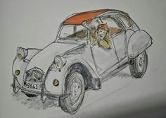 Roger Adams sketch of a Citroën 2CV