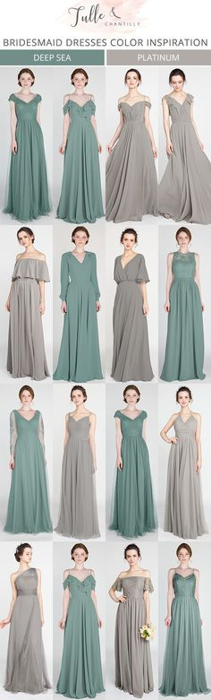 elegant greenery and grey bridesmaid dresses #wedding #bridalparty #greenerywedding #bridesmaiddresses