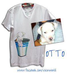 Retrato de un perro personalizada pintado a mano en una camiseta.  www.facebook.com/vasniworld