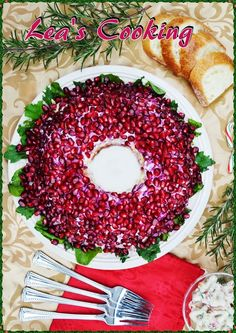 """Garnet Wreaths Salad"" - a very delicious salad, one might even say - spectacular. It could be  decorated for any holiday ~ especially for Christmas. Pomegranate seeds add color and, of course, a yummy taste.  Салат Гранатовый браслет"