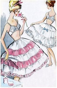 """Vintage Petticoat Slip Skirt Crinoline Tulle 1950's we called then """"can cans"""", no, I don't know why..."""
