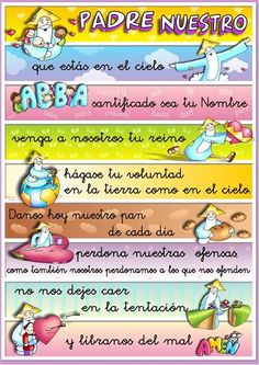 Padre Nuestro / Our Father Religious Education, Kids Education, Bible Lessons, Lessons For Kids, Our Father In Spanish, Teaching Spanish, Teaching Kids, Prayer For Baby, Catholic Catechism