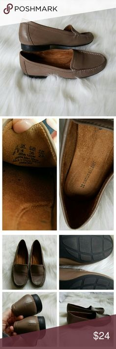 """{Naturalizer} NWOT """"Simmons"""" Loafers NWOT. Contoured footbed. Leather upper in a casual loafer style with a round toe. Stitching detail. Smooth lining, cushioning insole. Non-slip outsole, 3/4 inch heel.  Lovely taupe (gray - tan) color flats. Never worn, but no tags. Slight black smudges on back; they look like shadows. See last pic. They may come off.   Naturalizer makes the coziest shoes!   Peace & Happy Poshing! Naturalizer Shoes Flats & Loafers"""