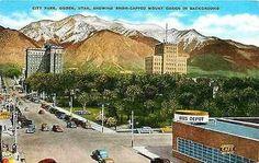 Ogden Utah UT 1940s New Bus Depot City Park Mount Ogden Antique Vintage Postcard
