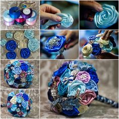 Silk and satin roses decorate a wedding or party favor. Satin flower bouquet for Bridal is always a perfect choice due to its smooth fabric feature, together with the matching high heels, it will make your big day unforgettable. Flower Bouquet Diy, Fabric Bouquet, Ribbon Bouquet, Satin Ribbon Flowers, Diy Wedding Bouquet, Diy Wedding Flowers, Paper Flowers Diy, Flower Crafts, Fabric Flowers