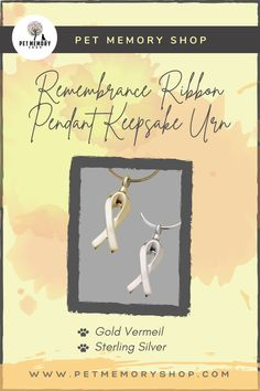 This Remembrance Ribbon Pendant Urn is designed to promote awareness of your special cause and hold a small keepsake from your loved one. This can be filled through a threaded screw top and can not be engraved. Pet Memorial Jewelry, Keepsake Urns, Cremation Urns, Pet Loss, Pet Memorials, Pet Gifts, Ribbon, Memories, Pets