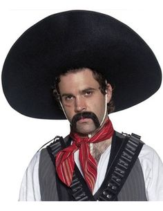 Mexican Black Bandit Sombrero Style Hat A Black hat for a mean Mexican  bandit that is big and black. This black mexican sombrero hat can be teamed  with the. a673b2c7300a