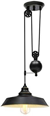 Kingso Rustic Pulley Pendant Light One Light Adjustable Height Industrial Black Ceiling Hanging Lig Pulley Pendant Light Hanging Ceiling Lights Ceiling Hanging