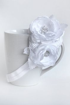 White Lacey Cluster of Handmade Flowers