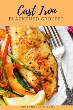 Enjoy fresh grouper seasoned with your favorite blackened spices and seared in a cast-iron skillet makes for an easy healthy dinner in under 30 minutes. Cast Iron Blackened Grouper Recipe - Home & Plate H Blackened Grouper Recipe, Baked Grouper, Grilled Grouper, Grouper Fish, Baked Fish, Grouper Fillet, Grilled Shrimp, Grilled Meat, Seafood Dishes