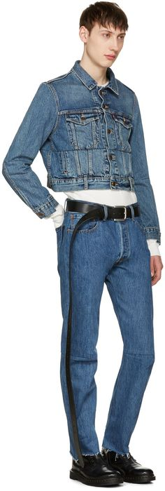 Vetements for Men Collection Denim Jacket Fashion, Pants, Jackets, Blue, Stuff To Buy, Levis, Gq, Men's Style, Shopping