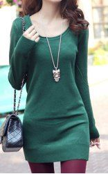 $12.43 Long Edition Packet Buttock Laconic Style Knitting Solid Color Dress For Women