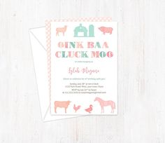 Farm Birthday Party Invites, also for Petting Zoo Party