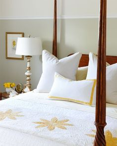 Looking for a classic yet, refreshing colour scheme for your guest room? Try incorporating sunny yellow accents with creamy neutral basics. Soon after we took possession of the farm, spring arrived, and up through the ground popped a garden filled with daffodils. When it came time to choose a direction for this room, I was reminded of how happy and cheery a field of yellow looks and decided a sunny-yellow guest room would be warm and welcoming for visitors no matter what the weather outside…