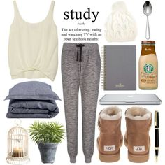 Perfect Lazy Day Outfit by bellarose01 on Polyvore featuring Elizabeth and James, UGG Australia, Yves Salomon, Libeco Home, Mulberry, Crate and Barrel and Waterman