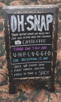 Unplugged Wedding Chalkboard Sign