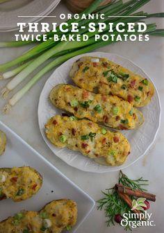 Organic holiday side dish: Thrice-Spiced, Twice-Baked Potatoes #RecipeRemix | www.simplyorganic.com/holidays