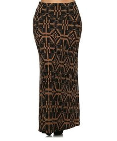 Love this Black & Brown Tribal Maxi Skirt - Plus on #zulily! #zulilyfinds