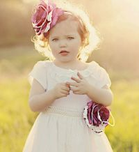 Vintage rose flower girl with matching hair wedding white and burgundy