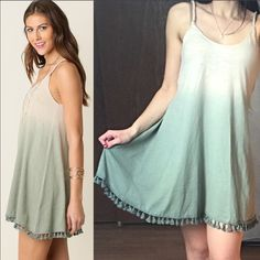 "BOHO Ombré Mini Dress with Tassel Trim This adorable BOHO flowy mini dress is so perfect for the spring/summer. It is so soft & amazing quality made of a cotton blend. Approx 30.5"" long. I have S (2-4) M (6-8) L (10-12) these run a little flowy & slightly big, but I think it looks perfect this way. Im a size 2/4 & wearing the small in the picture. Price is absolutely firm unless bundled. You may purchase this listing as I've created individual listings for each size. I have blush & sage…"