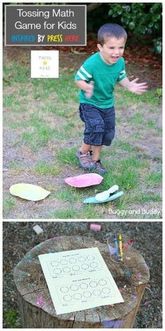 Gross Motor Math Game for Kids inspired by the children's book, Press Here by Herve Tullet! Make your own beanbags using socks and use them with paper plates for a fun tossing game! (Great for counting practice.) Includes free printable recording sheets! ~ http://BuggyandBuddy.com
