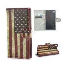 Funda tarjetero diseño bandera americana para Huawei Ascend P7 - Funda tarjetero diseño bandera americana para Huawei Ascend P7, es una elegante funda de piel sintetica que ofrece una protección discreta e inigualable. Con funcion soporte