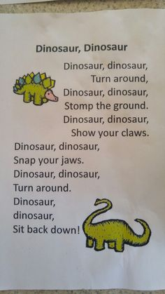 41 Ideas for music theme activities nursery rhymes 41 Ideas for music theme activities nursery rhyme Dinosaurs Preschool, Preschool Songs, Preschool Classroom, Preschool Learning, In Kindergarten, Dinosaurs For Toddlers, Dinosaur Classroom, Preschool Movement Songs, Dinosaur Songs For Kids