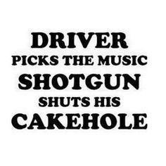 Driver Picks the Music, Shotgun shuts his cake Hole Decal - Decal - Supernatural-Sickness Halloween Pumpkin Carving Stencils, Supernatural Quotes, Supernatural Baby, White Home Decor, Car Decals, Vinyl Decals, Vinyl Projects, Vinyl Art, Birthday Fun