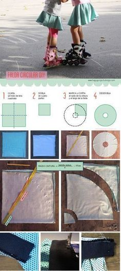 Cómo coser un a falda circular #falda #coser #diy #patron circle skirt pattern Childrens Sewing Patterns, Kids Patterns, Dress Patterns, Sewing Kids Clothes, Diy Clothes, Sewing Projects For Kids, Sewing For Kids, Circle Skirt Pattern, Tutu Pattern