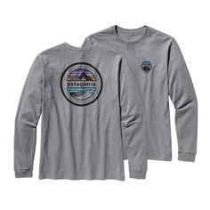 Patagonia Men\'s Long-Sleeved Rivet Logo Cotton T-Shirt - Gravel Heather GLH