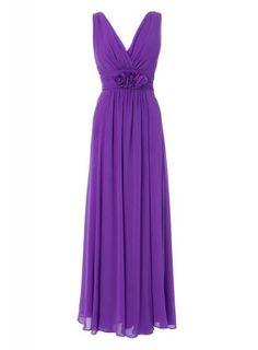 GEORGE DESIGN Designer New Strap V Neck Chiffon Long Bridesmaid Dress/Evening Dress With Hand-made Flowers:Amazon:Clothing