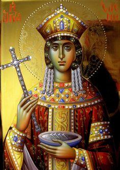 Helen by Eleni Dadi Byzantine Icons, Byzantine Art, Russian Orthodox, Orthodox Christianity, St Helena, All Icon, Orthodox Icons, Sacred Art, Holy Spirit