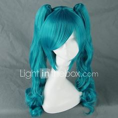 Cosplay Wigs Vocaloid Hatsune Miku Blue Medium Anime/ Video Games Cosplay Wigs 75 CM Heat Resistant Fiber Female 2017 - $29.99