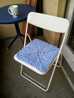Free Pattern: Chair cover knitted from a cut up old blanket