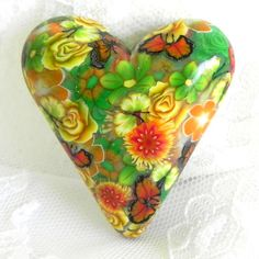 Reserved for Vikki  Heart Cab  Green Orange Yellow by LavaGifts, $10.00