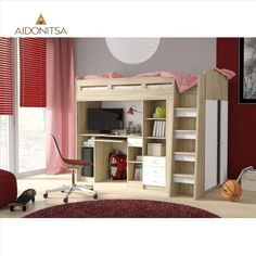 Sallie European Single High Sleeper Bed With Furniture Set Harriet Bee Colour (Bed Frame): White Super-Matt/Riviera Oak Triple Sleeper Bunk Bed, High Sleeper Bed, Bed Frame With Drawers, Bunk Beds With Drawers, Convertible Toddler Bed, Single Bunk Bed, Bed Unit, Bed Shelves, Bed Sizes