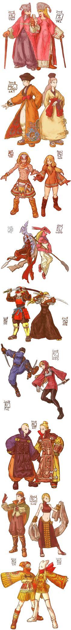 designs: mediator, oracle, geomancer, dragoon, samurai, ninja, calculator, bard, dancer, mime by ikeda