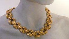 Vintage Givenchy Matte Gold Plated Byzantine Choker Necklace *