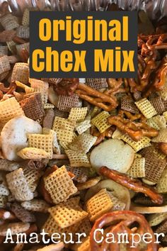 Original Chex Mix Original Chex Mix The Original Chex Mix Recipe The original recipe of Chex Mix is a classic favorite to take on long roadtrips, camping adventures or just to have on hand to snack on. Baked Chex Mix Recipe, Chec Mix Recipe, Chex Party Mix Recipe, Vegan Chex Mix Recipe, Chex Recipes, Snack Mix Recipes, Cereal Recipes, Snack Mixes, Amigurumi