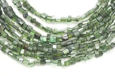 Natural Brazilian Green Tourmaline Raw Freeform Cube Beads 8inch Strand by BeadSeen on Etsy