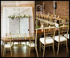 Brown Wooden Farm Tables with Ivory Florals and Gold Chiavari Chairs at Rustic, Barn Tampa Bay/Dade City Wedding Reception Venue Barrington Hill