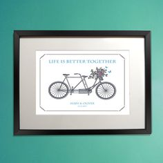 Tandem Bicycle Printable / Personalized anniversary wedding gift / Personalized wall art / Valentine Day Present