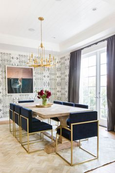 Gold accent chairs are the perfect addition to this hollywood glam place