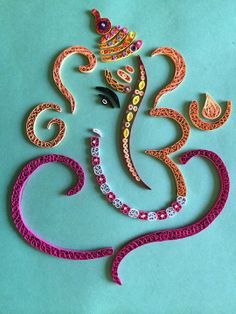 Abstract Ganesh in quilling By Chetana ! Quilling Dolls, Quilling Work, Quilling Craft, Quilling Designs, Paper Quilling, Ganesha Rangoli, Diwali Cards, Border Embroidery Designs, Lotus Art