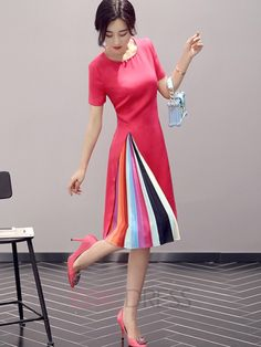 Ericdress Color Block Patchwork Short Sleeve Round Neck Casual Dress 2