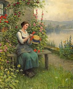 It's About Time: Spring is Coming! Sewing & Knitting - Daniel Ridgway Knight 1839-1924