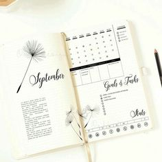 Simplified Bullet Journal Layout and design spread includes month calendar and tracker bullet journal idea as inspiration for your collection