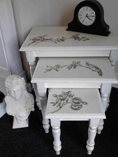Shabby Chic nest of 3 table by tracyandmegs on Etsy, £65.00